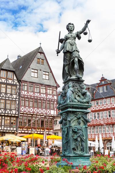 Frankfurt óváros szobor Németország építészet Európa Stock fotó © vichie81