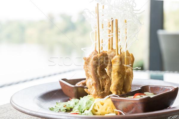Stock fotó: Tyúk · thai · étel · vacsora · hús · bambusz