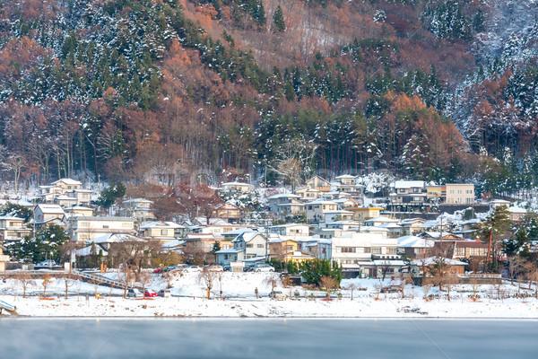 Foto stock: Noite · cidade · lago · paisagem · neve · árvores