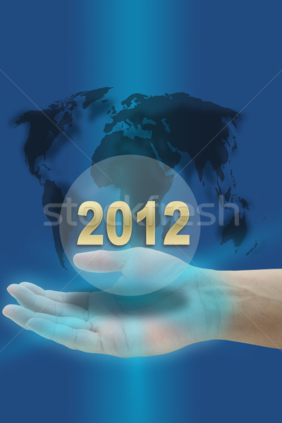 2012 el happy new year dünya haritası gökyüzü Stok fotoğraf © vichie81