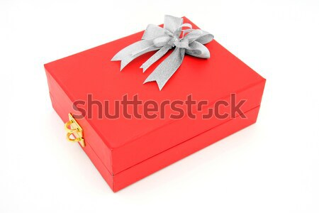 isolated red box with key lock holder with silver bow Stock photo © vichie81