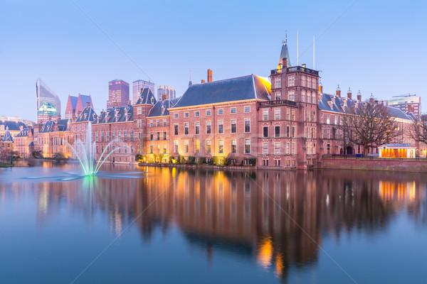 парламент дворец место Нидерланды сумерки бизнеса Сток-фото © vichie81