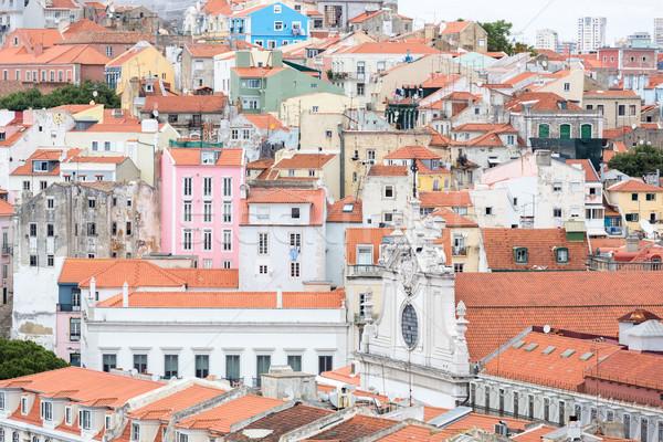 Lizbon Cityscape Portekiz şehir ev Bina Stok fotoğraf © vichie81