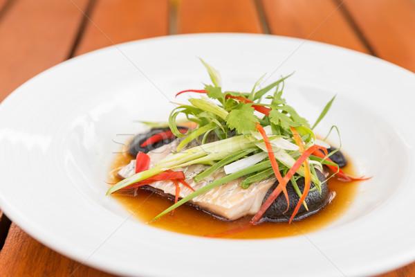 Deniz bas fileto soya sosu pırasa Stok fotoğraf © vichie81