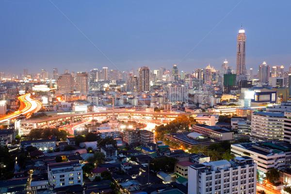 Бангкок центра Cityscape победу сумерки Сток-фото © vichie81