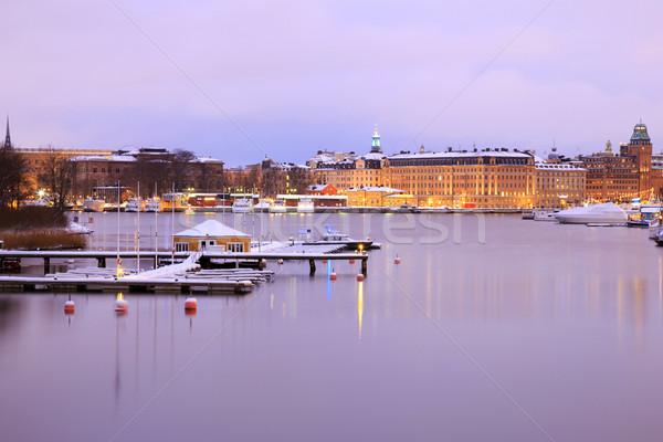 Sztokholm panoramę jezioro zmierzch Cityscape Szwecja Zdjęcia stock © vichie81