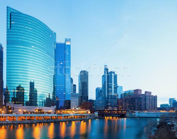 Chicago centrum schemering stad rivier bruggen Stockfoto © vichie81
