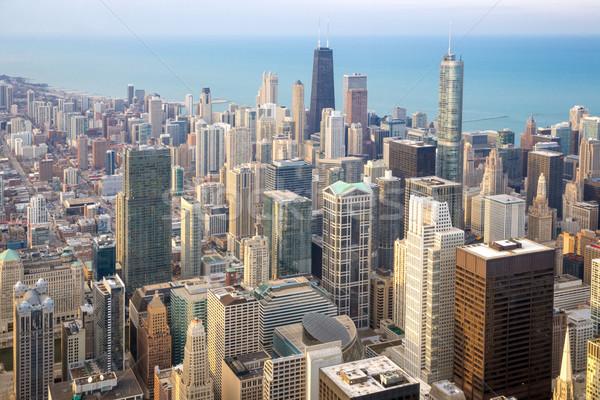 Chicago ville centre-ville ciel bleu Photo stock © vichie81