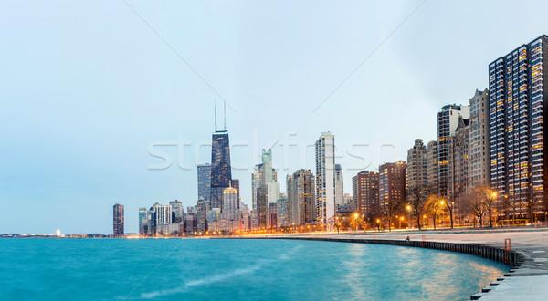 Chicago panorama lac Michigan ville centre-ville Photo stock © vichie81