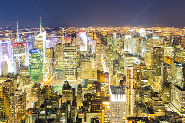 Antenne New York City nacht skyline stedelijke wolkenkrabbers Stockfoto © vichie81