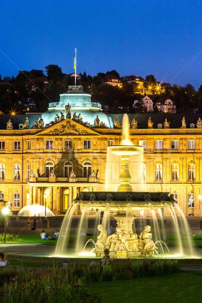 市 センター ドイツ 夕暮れ 噴水 新しい ストックフォト © vichie81