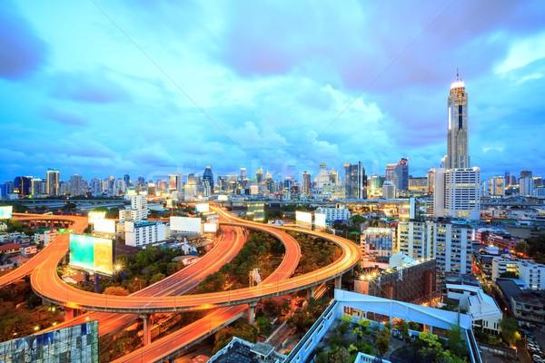 Бангкок центра сумерки шоссе Skyline Таиланд Сток-фото © vichie81