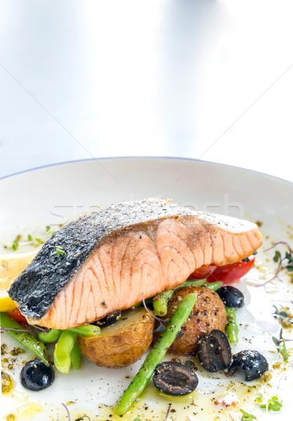 grilled salmon steak pesto Stock photo © vichie81