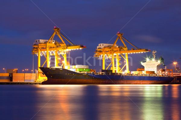 Container vracht schip werken kraan brug Stockfoto © vichie81