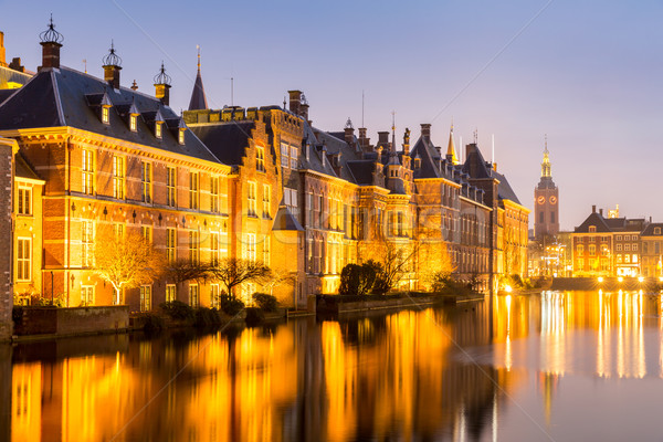 Parlement palais lieu Pays-Bas crépuscule affaires Photo stock © vichie81