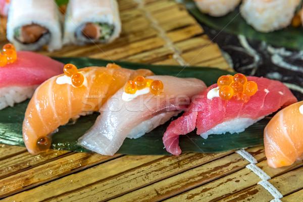 Sushi ayarlamak somon ton balığı turuncu Asya Stok fotoğraf © vichie81