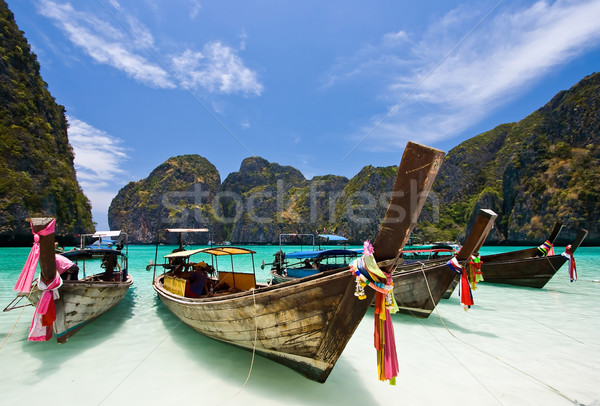 Stock photo: Boats on white sand beach