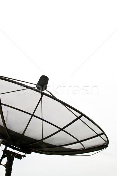 Antena satelitarna odizolowany biały niebo telewizji metal Zdjęcia stock © vichie81