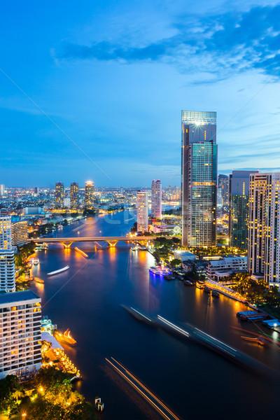 Бангкок Skyline центра реке закат Сток-фото © vichie81