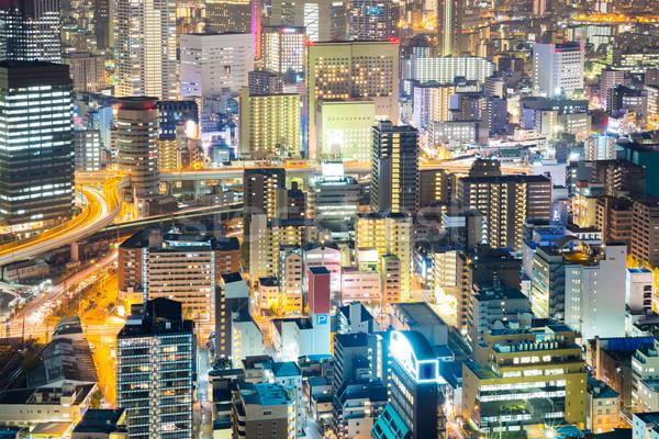 Osaka şehir merkezinde gece ufuk çizgisi gökdelen Bina Stok fotoğraf © vichie81