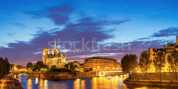Сток-фото: Париж · Панорама · Собор · Нотр-Дам · Cityscape · сумерки