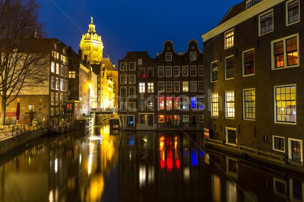 Amsterdam nacht kerk schemering water Stockfoto © vichie81