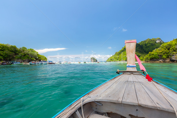 Tropical beach and boat Stock photo © vichie81