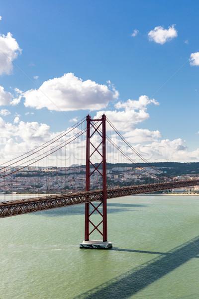 Lisboa puente Portugal paisaje urbano 25 puente colgante Foto stock © vichie81