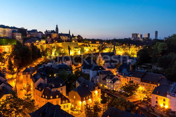 Lüksemburg şehir şehir merkezinde akşam karanlığı manzaralı görmek Stok fotoğraf © vichie81