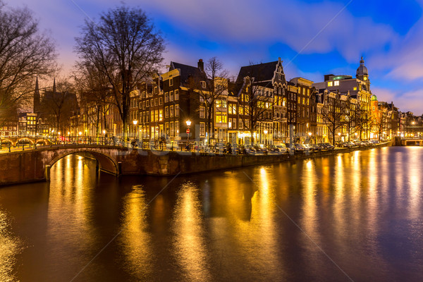 Amsterdam Países Bajos oeste lado anochecer agua Foto stock © vichie81