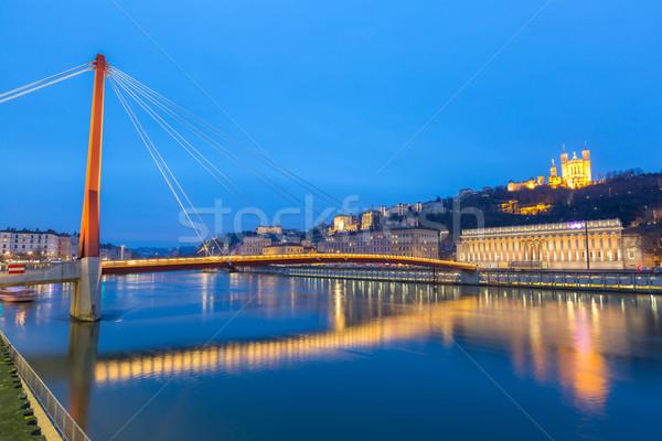 Lyon rio basílica noite França paisagem Foto stock © vichie81