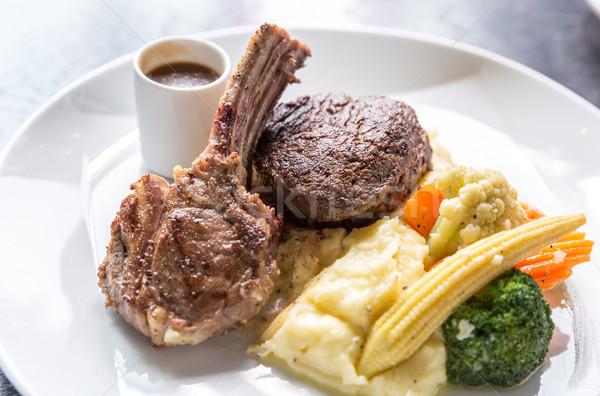 Сток-фото: гриль · ягненка · стейк · картофеля · растительное · продовольствие