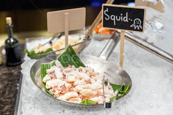Сток-фото: кальмар · льда · морепродуктов · продовольствие · морем · фон