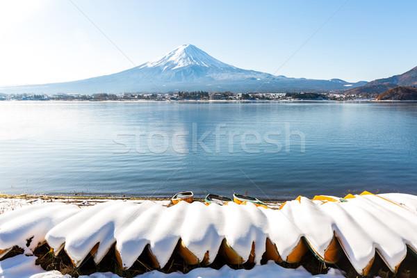 Fuji berg sneeuw water achtergrond zomer Stockfoto © vichie81