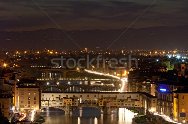 Florence Olaszország öreg híd Firenze folyó Stock fotó © vichie81