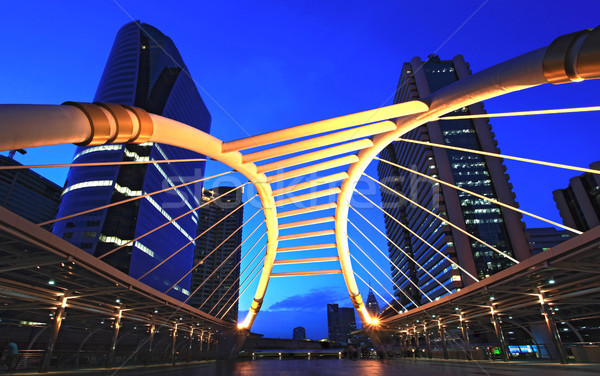 Bangkok centrum schemering vierkante business hemel Stockfoto © vichie81