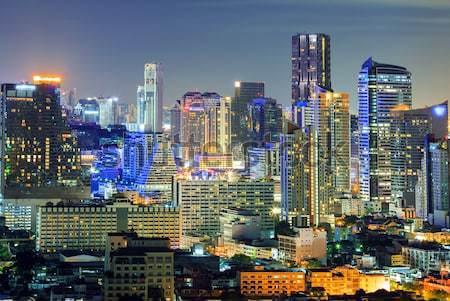 Bangkok Innenstadt Skyline Nacht Luftbild Business Stock foto © vichie81