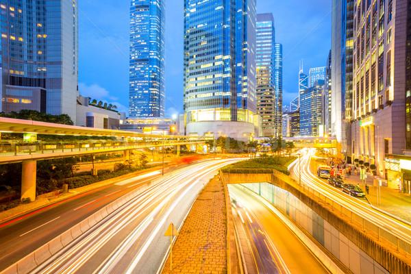 Гонконг центральный Skyline сумерки бизнеса здании Сток-фото © vichie81