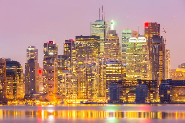 Торонто Skyline сумерки Онтарио Канада бизнеса Сток-фото © vichie81