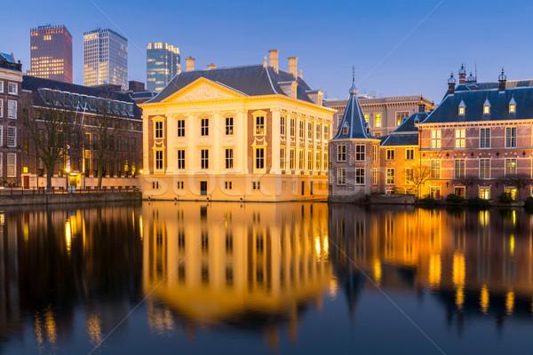 議会 宮殿 場所 オランダ 夕暮れ 湖 ストックフォト © vichie81