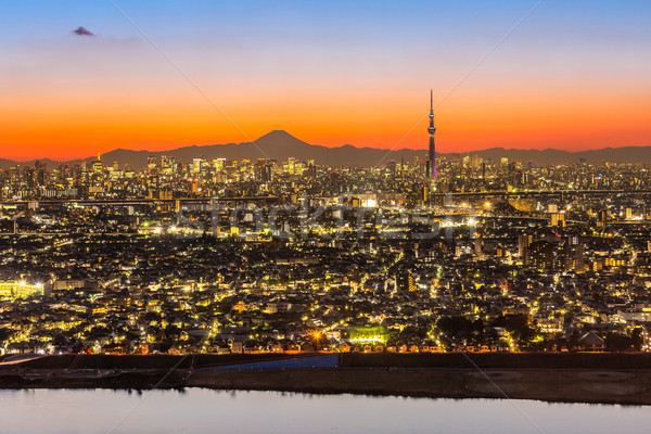 Tóquio pôr do sol cidade montanha fuji Foto stock © vichie81