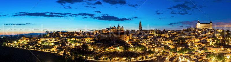 Панорама сумерки выстрел Cityscape Мадрид Испания Сток-фото © vichie81