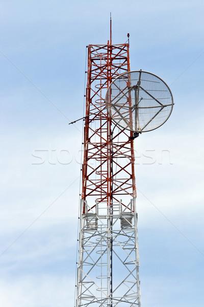 Satellite Dish on Telecommunication Radio antenna Tower Stock photo © vichie81