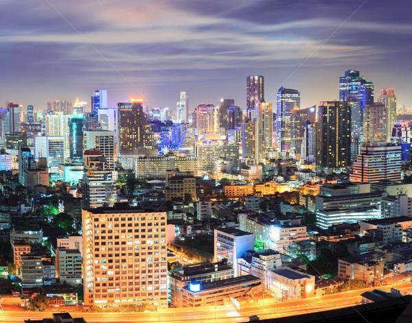 Bangkok downtown Skyline at night Stock photo © vichie81