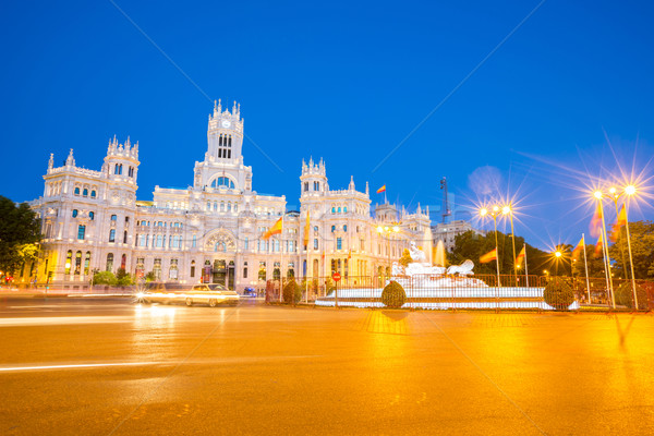 La Madrid Espagne carré central bureau de poste Photo stock © vichie81