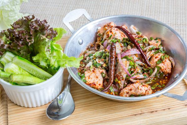 Piccante salmone insalata thai stile Foto d'archivio © vichie81