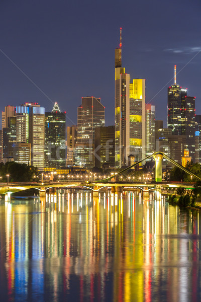 Stockfoto: Duitsland · Frankfurt · skyline · hoofd- · zonsondergang