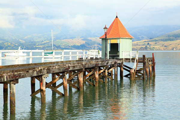 New Zealand motorboot pier gebouw meer water Stockfoto © vichie81