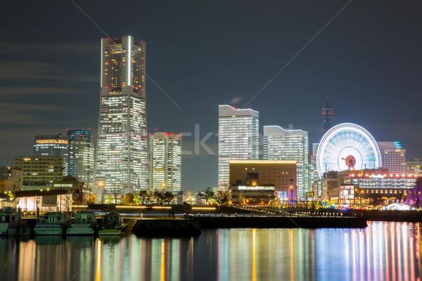 Сток-фото: Иокогама · Skyline · ночь · Япония · здании · небоскреба