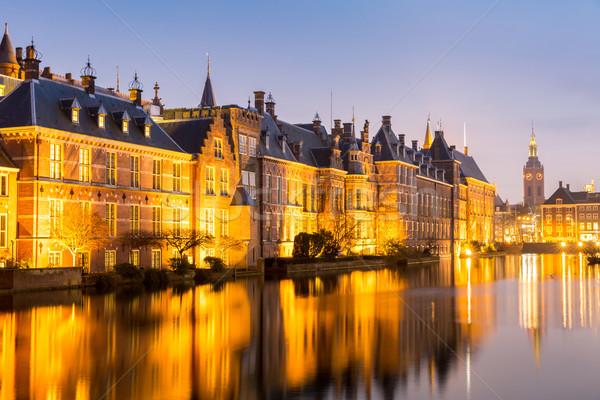 парламент дворец место Нидерланды сумерки озеро Сток-фото © vichie81